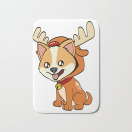 Corgi Christmas Dog T-shirt Design On Xmas Eve or Day Paw Paws Pet Breed Dogs Christmas Tree Bath Mat