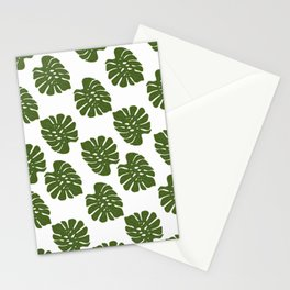 Green Leaves - Seamless Pattern, White Background Stationery Cards