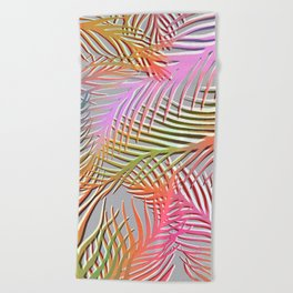 Palm Leaves Pattern - Pink, Gray, Orange Beach Towel