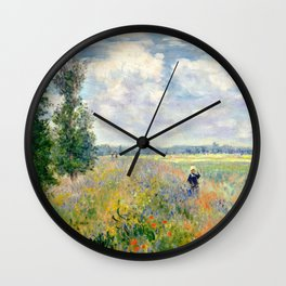 Poppy Fields near Argenteuil by Claude Monet Wall Clock