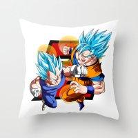 dbz Throw Pillows featuring DBZ - Vegeta & Goku SSJ God II by Mr. Stonebanks