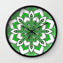 Mandala Flower : Green  Wall Clock