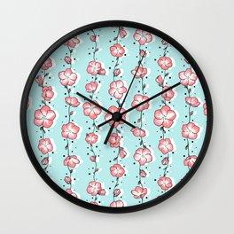 Watermelon Rose Wildflower Wall Clock