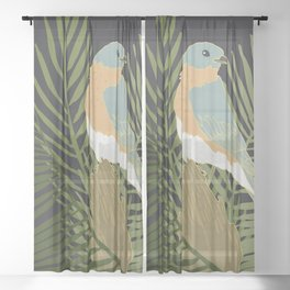Birds and Botanicals Bluebird and Bamboo Palm Sheer Curtain