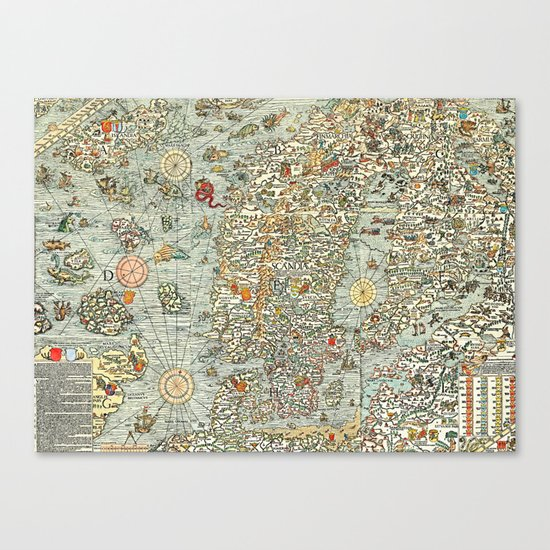 Ancient map Canvas Print