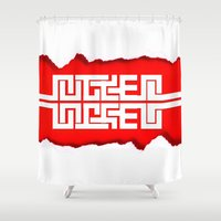 swag Shower Curtains featuring Red Swag by Azeez Olayinka Gloriousclick