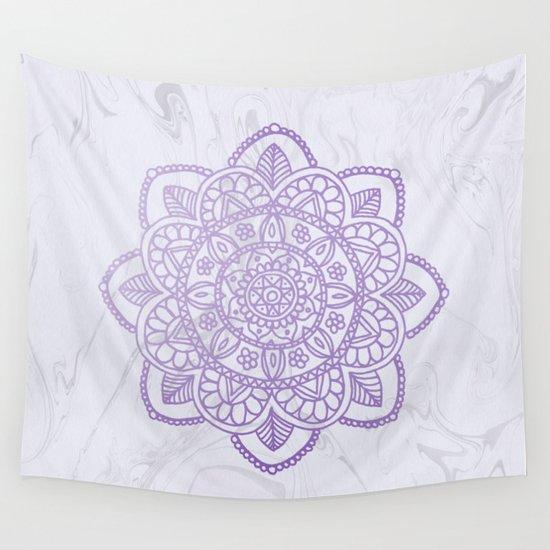 Lavender Mandala on White Marble by julieerindesigns
