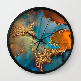 Abstract Blue And Gold Autumn Marble Wall Clock