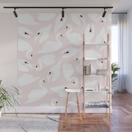 Swan Pattern on Pink 030 Wall Mural