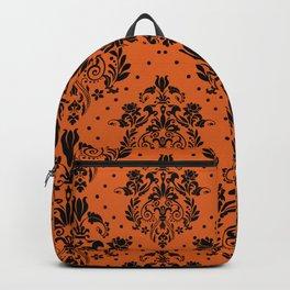 Vintage black orange halloween floral damask Backpack