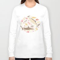 blankets Long Sleeve T-shirts featuring Oceanica by Anna Deegan