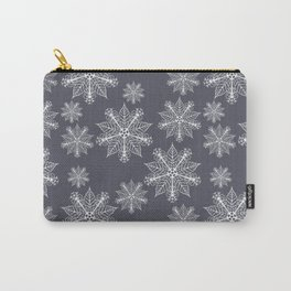 Christmas snowflakes navy blazer Carry-All Pouch