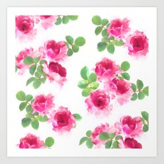 Raspberry Pink Painted Roses on White Art Print