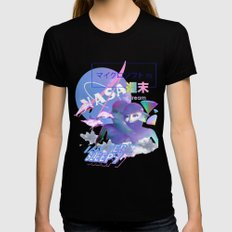 Vaporwave Aesthetics LARGE Black Womens Fitted Tee