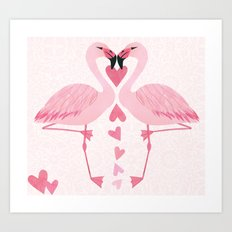 Flamingo Love. Art Print