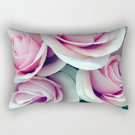 'La Vie Est Belle' (Life is Beautiful) Pink Roses Rectangular Pillow