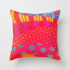 THE FASHIONISTA - Bright Vibrant Abstract Waves Mixed Media Whimsical Fashion Fabric Pattern Throw Pillow
