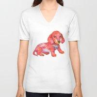 mini V-neck T-shirts featuring Mini Dachshund  by Ola Liola