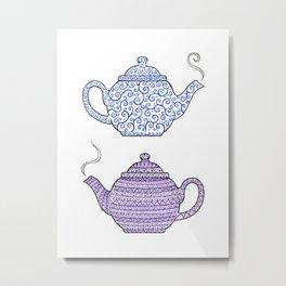 Patterned Teapots Metal Print
