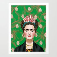 frida khalo Art Prints featuring Frida Khalo by Artusual