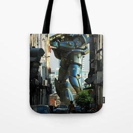 Mech behind a back alley Tote Bag