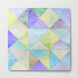 Watercolors triangles and squares, multicolored ornament, purple blue lilac green br Metal Print