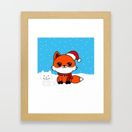 A Fox in the Snow Framed Art Print