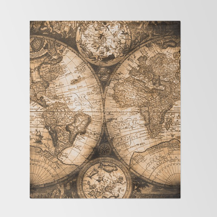 World map antique vintage maps throw blanket by naturemagick world map antique vintage maps throw blanket gumiabroncs Image collections