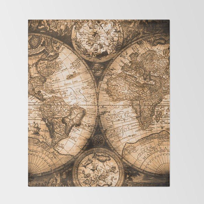 World map antique vintage maps throw blanket by naturemagick society6 world map antique vintage maps throw blanket gumiabroncs Images