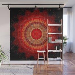 Vibrant Red Gold and black Mandala Wall Mural