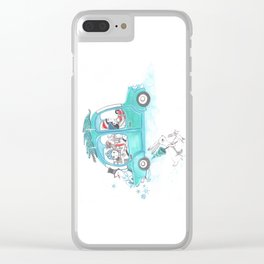 Snowy Stowaway Clear iPhone Case