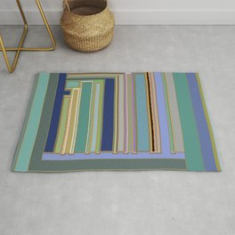 Industrial Blue Green Gray Navy Striped Geometric graphic design Rug