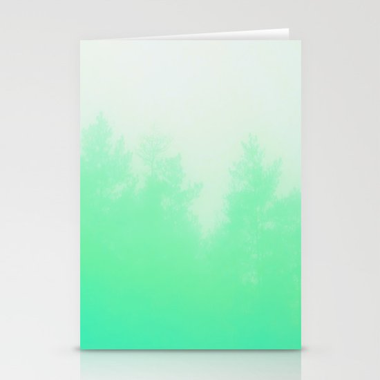 Out of focus - cool green Stationery Cards
