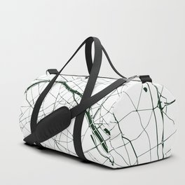 Paris France Minimal Street Map - Forest Green and White Duffle Bag