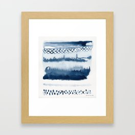 Beach Series Indigo Waves Watercolor Painting Framed Art Print