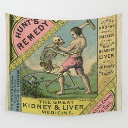 Vintage 1900 Hunt's Snake Oil Skeleton Advertisement Poster, Cures Dropsy and All Diseases! Wall Tapestry