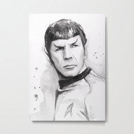 Spock Portrait Watercolor Sci-fi Geek Art Metal Print