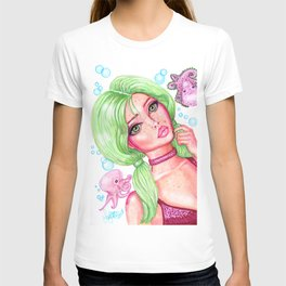 Seaweed and Friends Girl with Green Hair and Cute Baby Octopus Fantasy Art Mermaid T-shirt