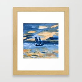 blue boat at sea part 1 Framed Art Print