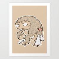 sasquatch Art Prints featuring Sasquatch by rebecca miller