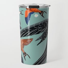 Swallows and swift pattern in blue Travel Mug