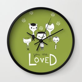 You are Loved - green Wall Clock
