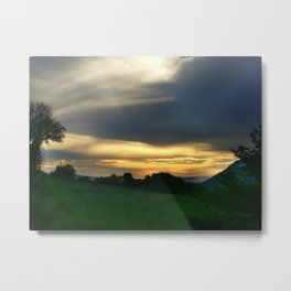 Rich Golden Sunrise over the Mountain Metal Print