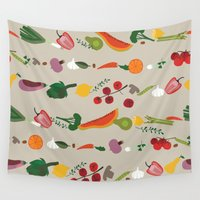 vegetarian Wall Tapestries featuring Vegetarian pattern by Darish