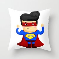 superhero Throw Pillows featuring Superhero by Inkley