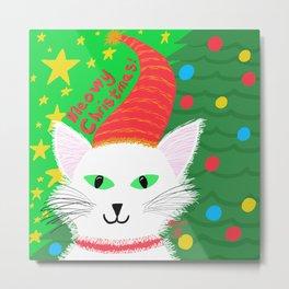Christmas Cat long white hair green eyes Metal Print