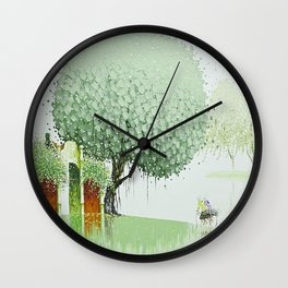 By The River-Green Wall Clock