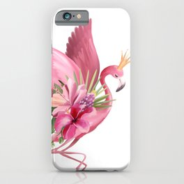 Flamingo in flight with a crown iPhone Case