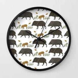 Javelina Family Portrait Wall Clock