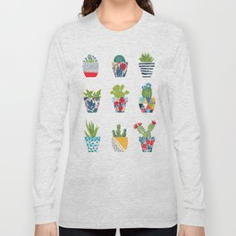 Funny cacti illustration Long Sleeve T-shirt